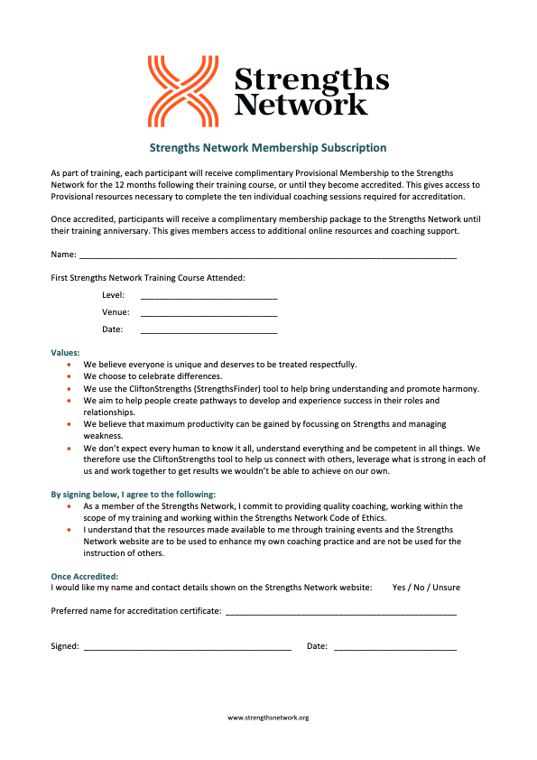 Strengths Network Subscription Application